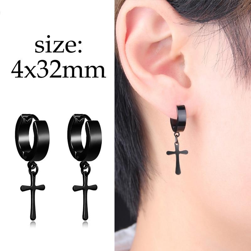 1PC Punk Black Multiple Style Stainless Stud Earrings Men Women Gothic Cross Round Street Pop Hip Hop Ear Studs Piercing Jewelry