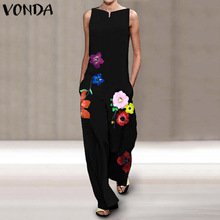 Womens Sleeveless Jumpsuits 2021 Women Rompers Sexy V Neck Printed Playsuits VONDA  Wide Leg Pants Casual Overalls