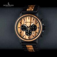 BOBO BIRD Unique Dial Stopwatch Bamboo Wooden Watches Men Wrist Watch With Date Create clock Gift In Wood Box saat erkek
