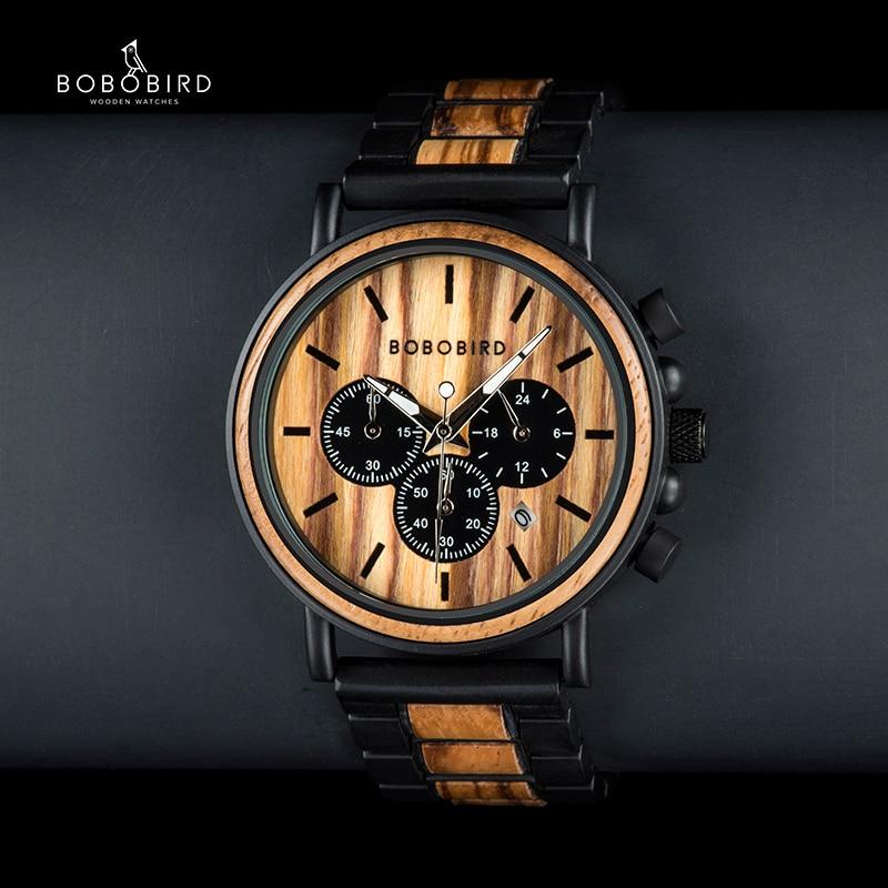 Saatler'ten Kuvars Saatler'de BOBO kuş benzersiz arama kronometre bambu ahşap saatler erkekler kol saati tarih oluşturmak saat hediye ahşap kutu içinde saat erkek title=