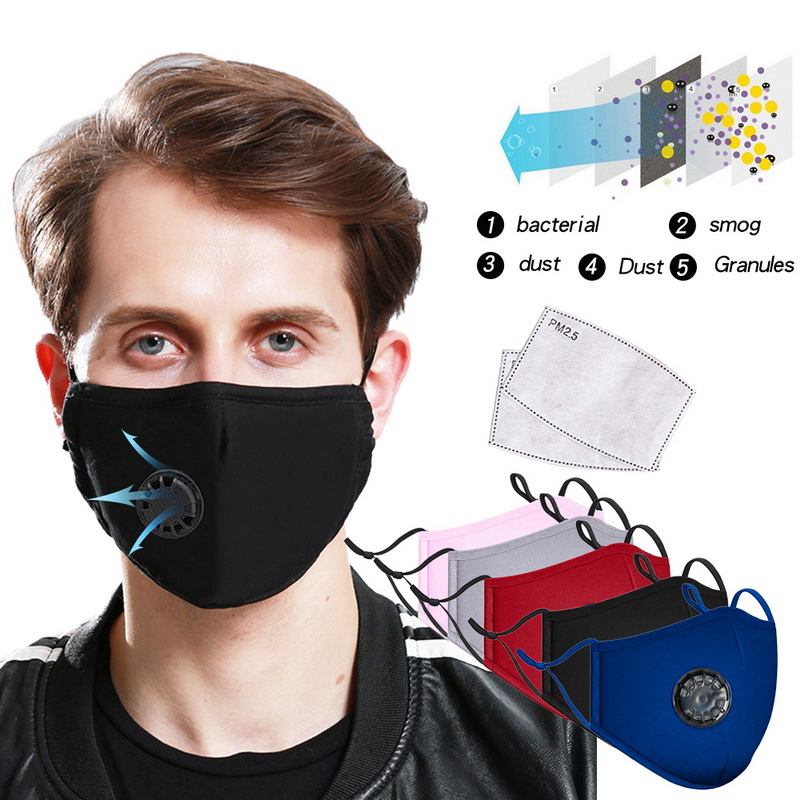 PM2.5 Anti-Dust Washable Anti-fog Mask Anti Haze Mask Activated Carbon Filter Respirator Mouth-muffle Protective Mask