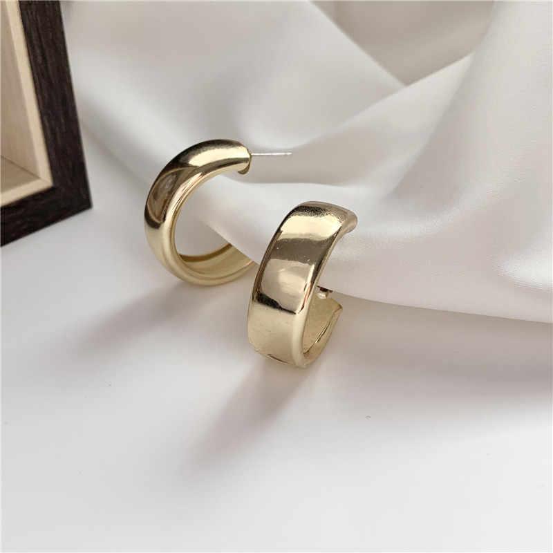 Pendientes grandes redondos geométricos grandes de Metal de color plateado dorado minimalista para mujer joyería para fiesta y boda