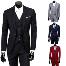 Tuxedo Men Suits Vest Jacket Pants Groom Work-Wear Slim-Fit Wedding Business Wonderful