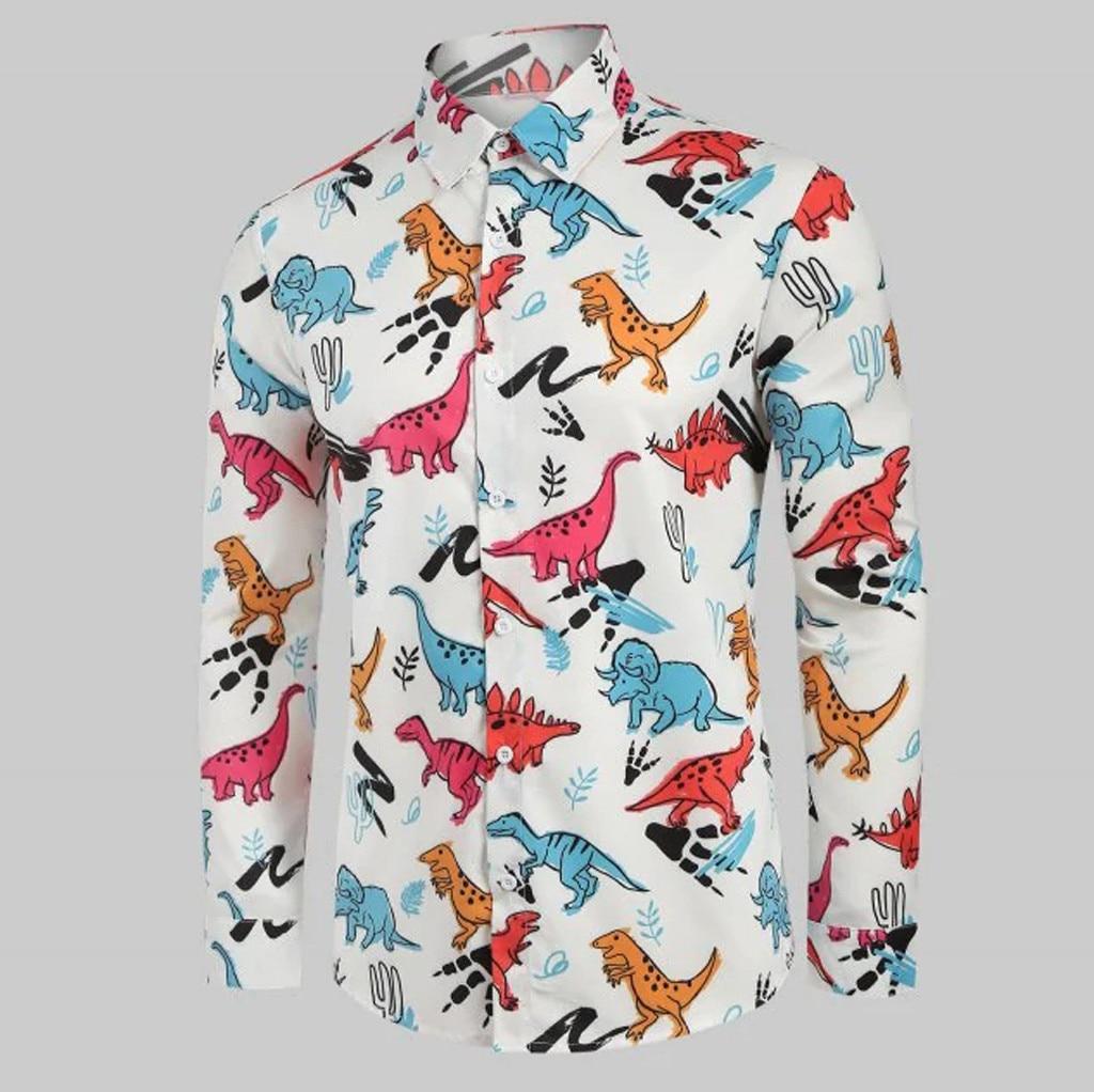Casual Formal Shirt Men Long Fashion Men's Animal Print Long Sleeve Casual V-Neck Short Sleeve Top Blouse Mens Dress Shirts