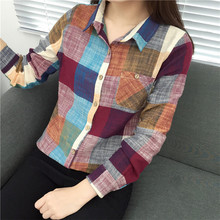 All-Match Loose Student Shirt Plaid Long Sleeve Autumn Blouse Women Turn-down Collar Office Ladies Tops Plus Size Casual Blusas cotton long shirt fashion plaid turn down collar full sleeve office lady autumn women blouse plus size casual blusas student top