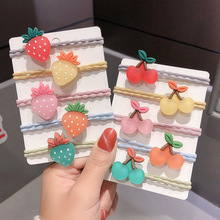 12 pcs set fashion kids elastic hair bands rubber headbands soft fabric cartoon girls headwear children hair accessories 5Pcs/Set Girls Cartoon Fruits Elastic Hair Bands Scrunchies Ponytail Holder Headbands for Kids Rubber Bands for Hair Accessories