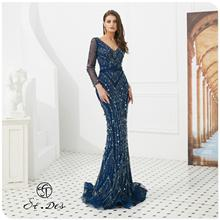 NEW Arrival 2020 St.Des Mermaid V-Neck Russian Dark Blue Sequins Designer Floor Length Evening Dress Party Gown
