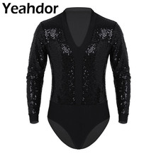 Sexy Mens V Neck Shiny Sequins One piece Clubwear Long Sleeves High Cut Rumba Latin Dance Shirt Short Unitard Leotard Bodysuit