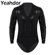 Сексуальная мужская цельнокроеная Клубная одежда с V образным вырезом и блестками с длинными рукавами, с высоким вырезом, блузка, короткое телесное боди