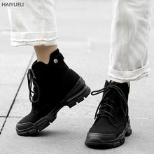 Women Ankle Boots Casual Chunky Platform Boots Women Lace Up Martens Boots Punk Womens Fall Boots Sports Style Black Shoes(China)
