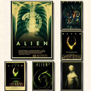 Alien-Poster Kraft-Paper Science-Fiction Movies Wall Print Home-Decor Art-Painting