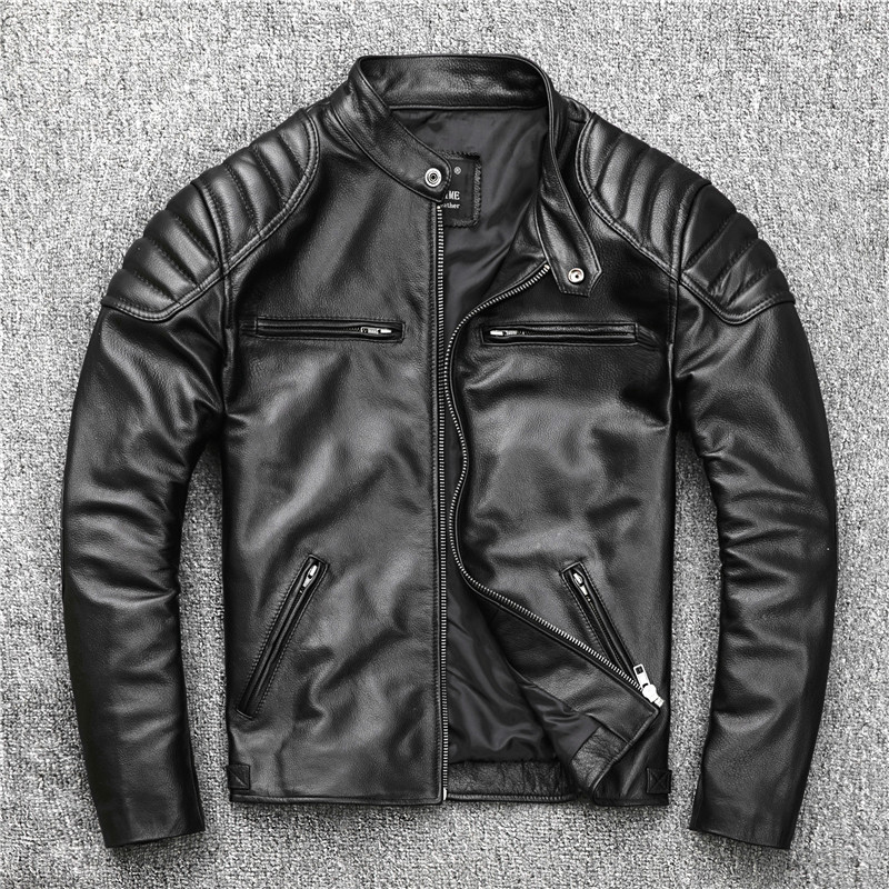 YR!Free shipping.sale cowhide clothes.black motor style leather jacket,popular slim genuine leather coat,man plus size jacket.