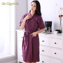 Pijamas de tamaño grande para mujer, albornoz de algodón, ropa de hogar, Kimono florales para mujer, albornoz de lencería, novedad
