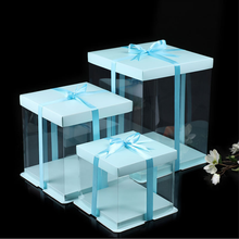 4-16 Inches Baby Blue Color Gift Box Simple Transparent Gift Boxes Contracted Cake Box Big Size Rose Bear Box Birthday Party Cake Gaine(China)