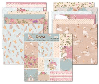 New Swan Scrapbooking Paper Pack Of 24 Sheets Handmade Craft Paper Craft Background Pad