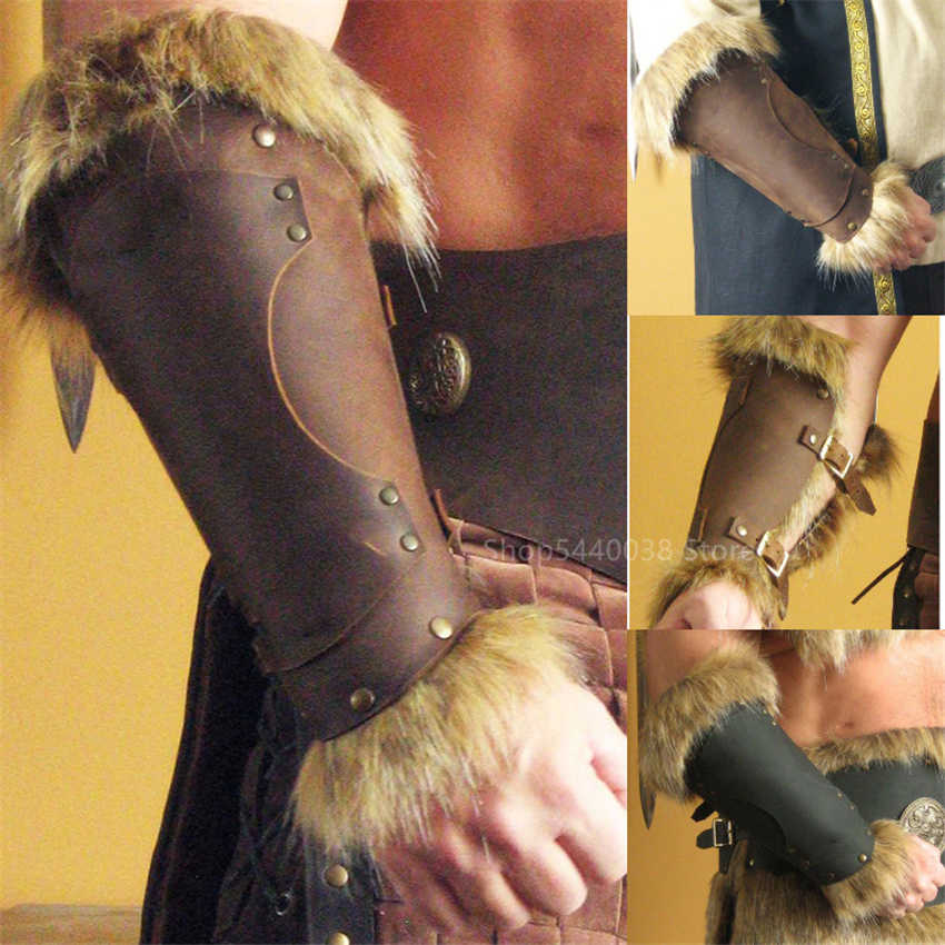 Adult Men Medieval Warrior Larp Knight Leather Bracer with Buckle Feather Armor Steampunk Archer Gauntlet Cosplay Costume Viking