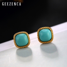 925 Sterling Silver Gold Plated Turquoise Stud Earrings For Women Trendy Vintage Square Gemstone Earring Fine Jewelry Party Gift