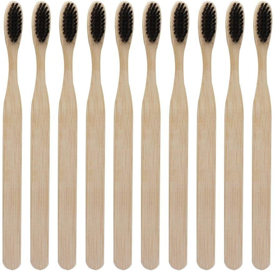 Reusable Recycled Bamboo Charcoal Soft Fiber Cleaning Toothbrush  Popular Washing ToolSet 10 Sticks JMSS