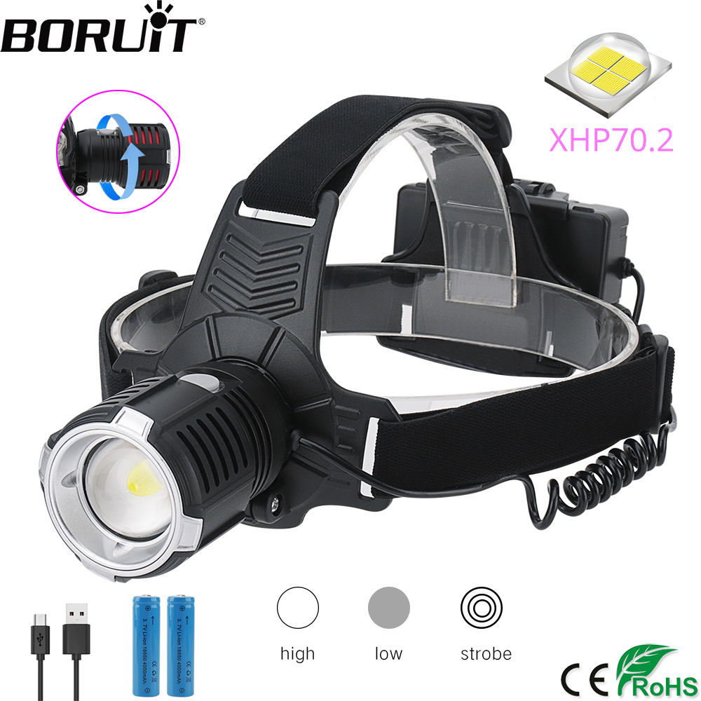 BORUiT 4000LM XHP70.2 LED Headlamp 3-Mode Zoom Headlight USB Rechargeable Head Torch Camping Hunting Flashlight 18650 Battery