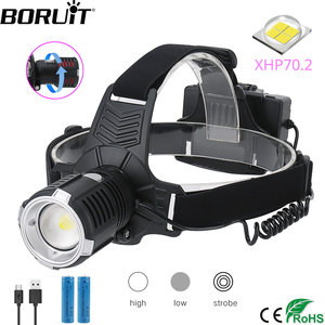 Image 1 - BORUiT XHP70.2 LED Powerful Headlamp 4000LM 3 Mode Zoom Headlight Rechargeable 18650 Waterproof Head Torch for Camping Hunting