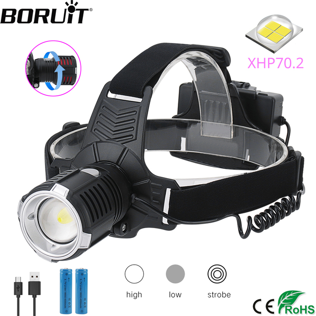 BORUiT XHP70.2 LED Powerful Headlamp 4000LM 3 Mode Zoom Headlight Rechargeable 18650 Waterproof Head Torch for Camping Hunting