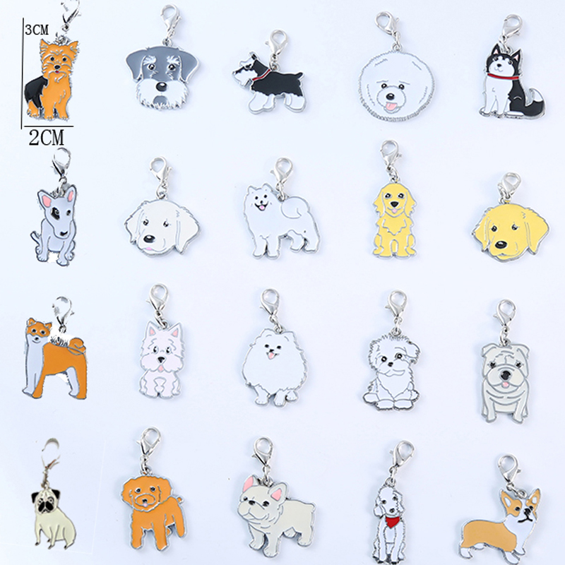 5PCS/lot Dog Pug Cute Anime Keychain Boyfriend Gift Car Key Ring Fashion For Women And Men Jewelry Bag Charm Gift Pet Pendant