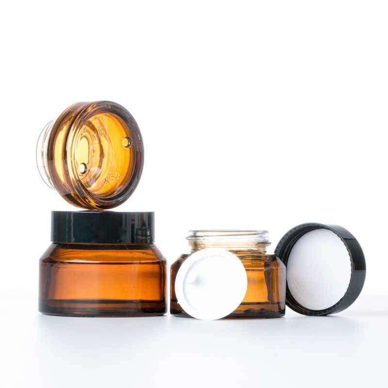 1 pièces 15g/30g/50g vide ambre vert verre bouteilles rechargeables Pot de maquillage Pot voyage visage crème Lotion flacons contenants cosmétiques