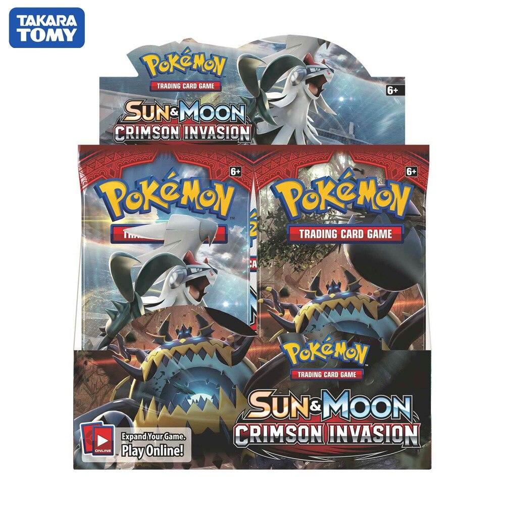 324 카드 포켓몬 TCG Sun & Moon 크림슨 침략 봉인 된 부스터 박스 Collectible Trading Card Game