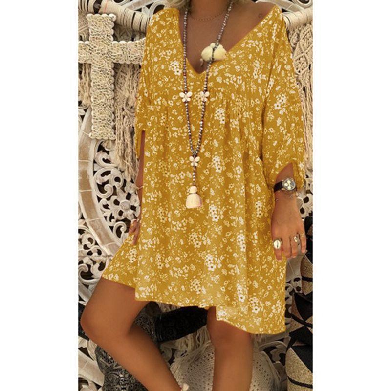 us veteran 2021 Women Dress Plus Size Dresses Women Loose dress Summer Style Feminino Vestido Casual Big Size Ladies Dress 11
