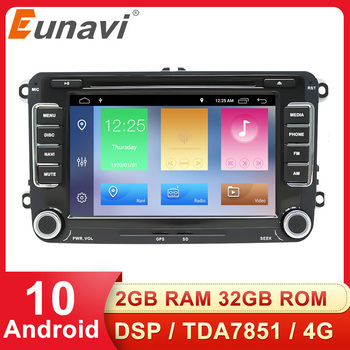 Eunavi 2 Din Android Car Multimedia Player GPS For Volkswagen VW Passat B5 B6 CC Polo GOLF 5 6 Touran Jetta Tiguan Autoradio DSP image