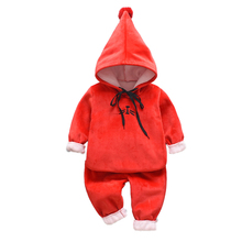 2pcs/Set Winter Childrens Clothes Set Baby Boys Girls Velvet Thickening Fleece Hooded Sweater + Pants Super Warm Infant Suit