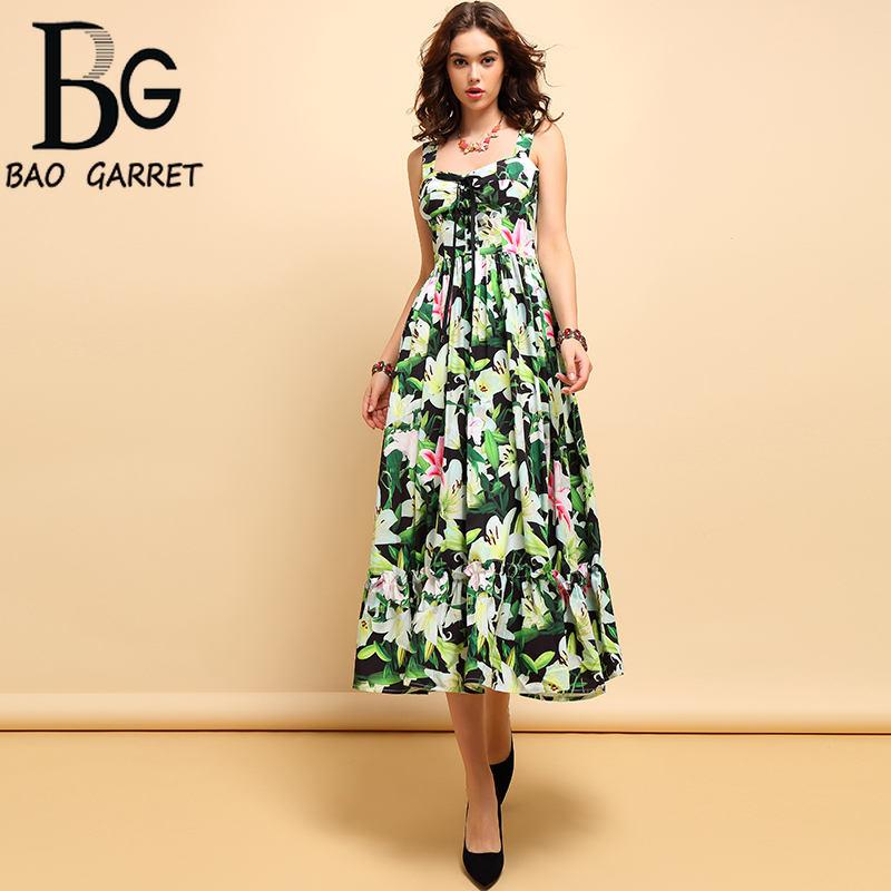 Baogarret New Fashion Spring Summer Midi Dress Women 39 s Casual Spaghetti Strap Bow Tie Draped Floral Printed Elegant Dresses in Dresses from Women 39 s Clothing