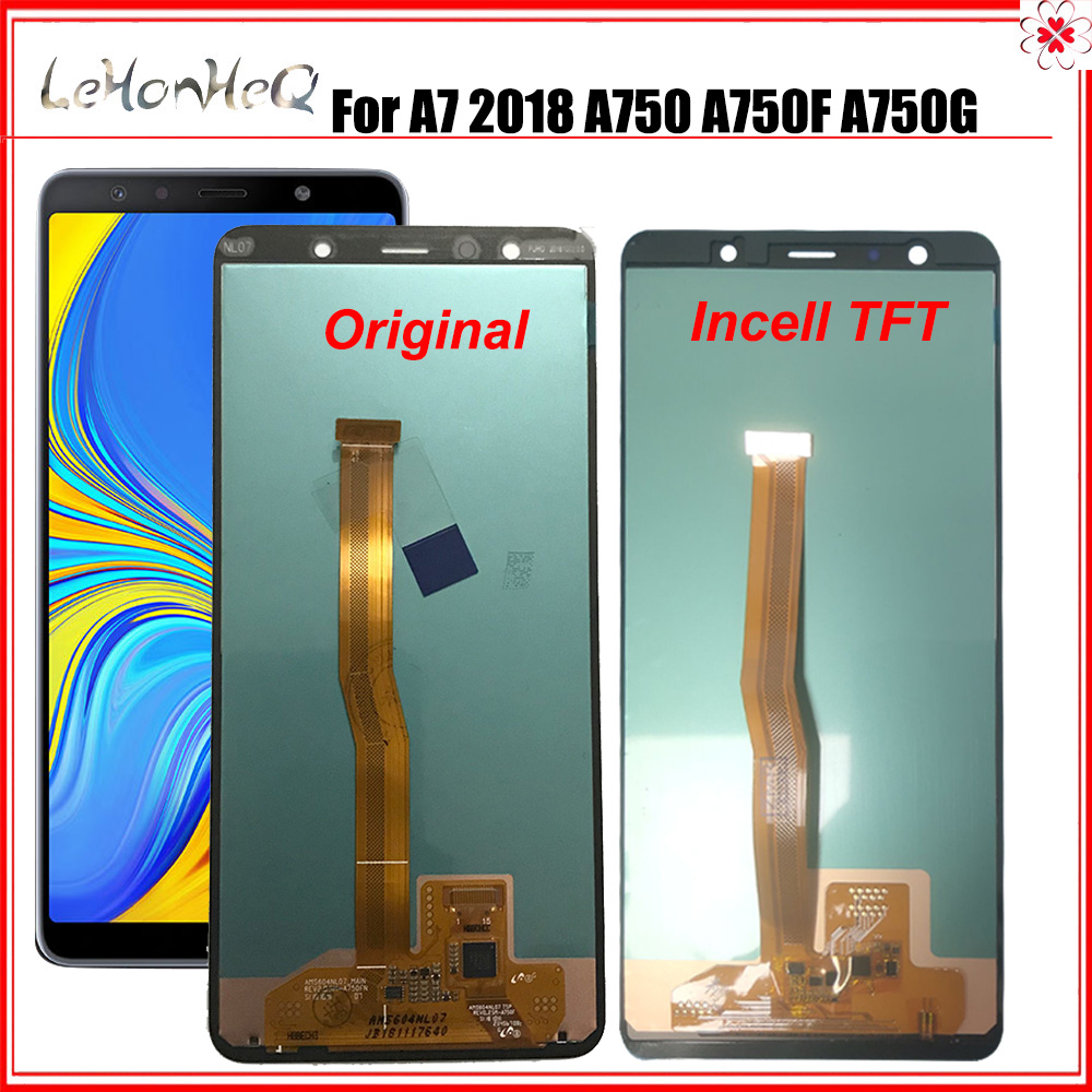 Super AMOLED/OLED/TFT LCD For <font><b>Samsung</b></font> <font><b>Galaxy</b></font> <font><b>A7</b></font> <font><b>2018</b></font> A750 SM-A750F A750F <font><b>Display</b></font> With Touch Screen Assembly Replacement Part image