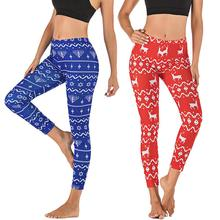 Fashion Womens Pants Christmas Deer Printing Tight Sports Yoga Casual Leggings Outdoor Streetwear Female Clothing