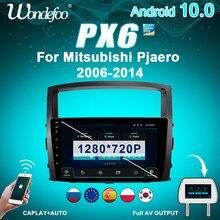 راديو للسيارة 2 din يعمل بنظام أندرويد 10 PX6 للسيارة MITSUBISHI PAJERO 2006 2014 مزود بشاشة جي بي إس ستيريو يعمل بالبلوتوث نظام ملاحة صوت تلقائي متعدد الوسائط