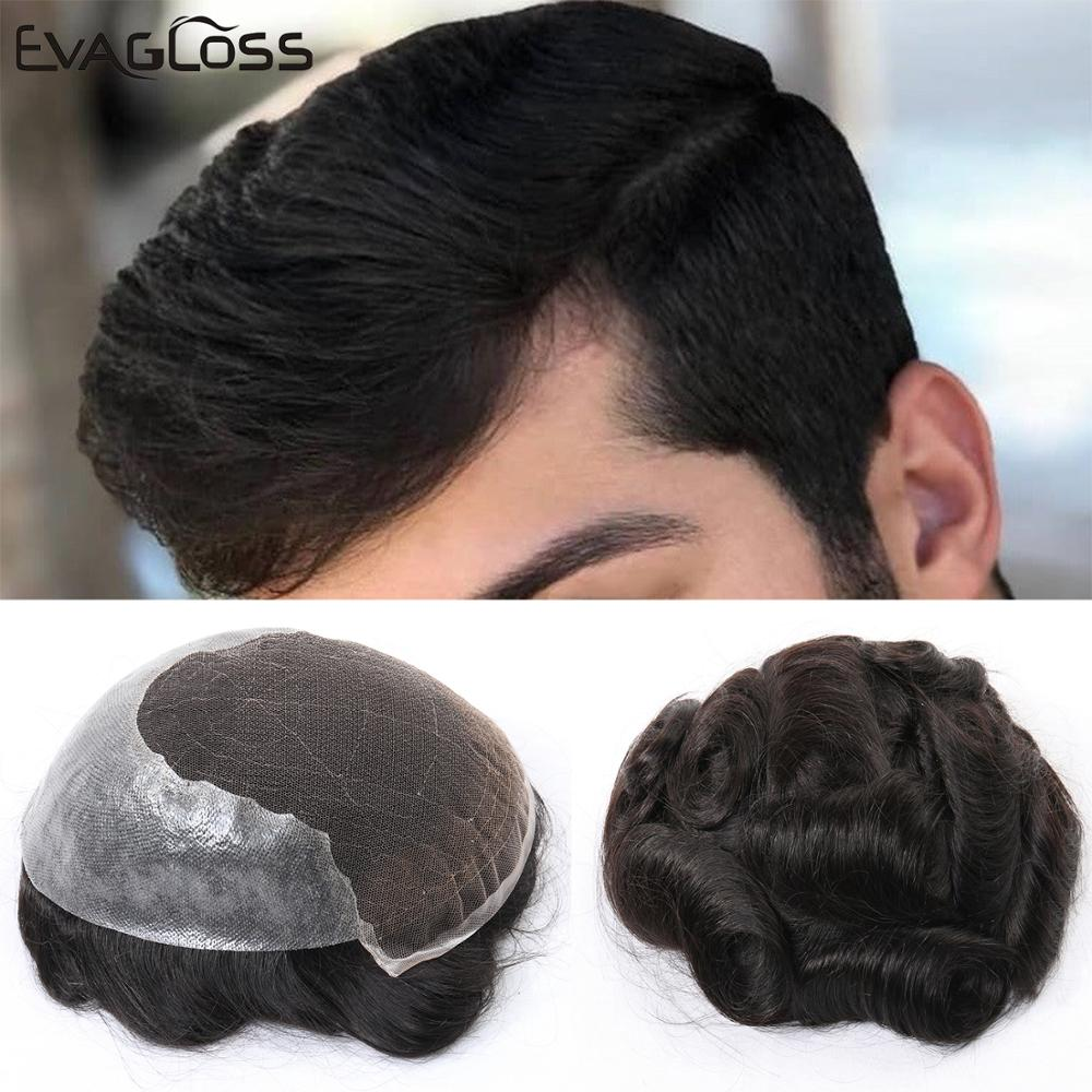 Natural Hairline Real Indian Human Hair Toupee Wig For Men Q6 Swiss Lace System Mens Hair Wig