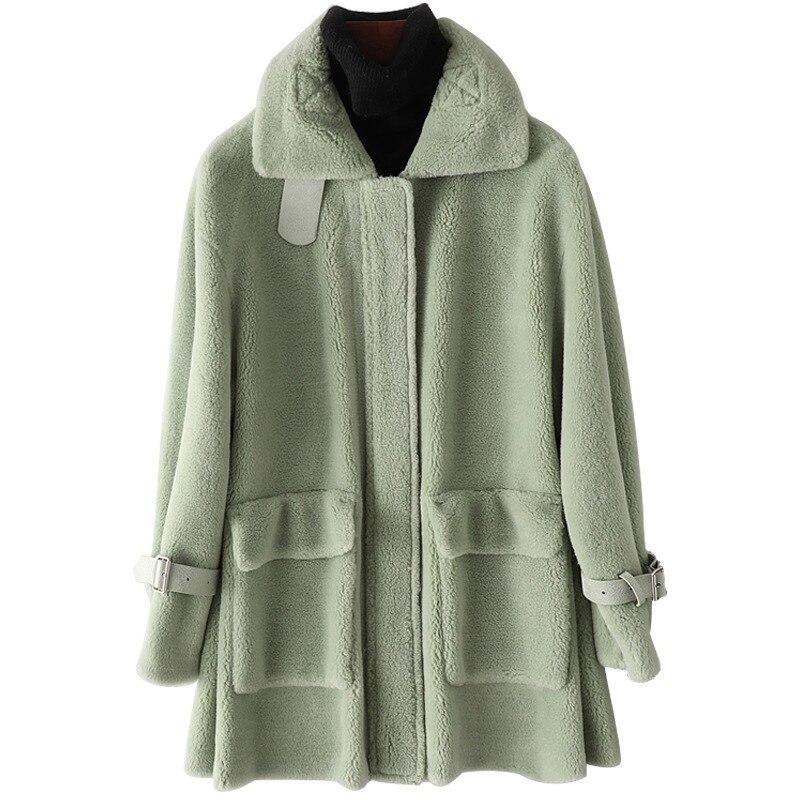 Echt Wolle Pelz Jacke Mantel Herbst Winter Frauen Pelz Graben Oberbekleidung Mäntel Mantel VF7074