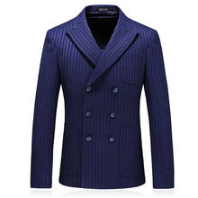 fashion striped double breasted mens suit jacket blazers good quality navy blue for men