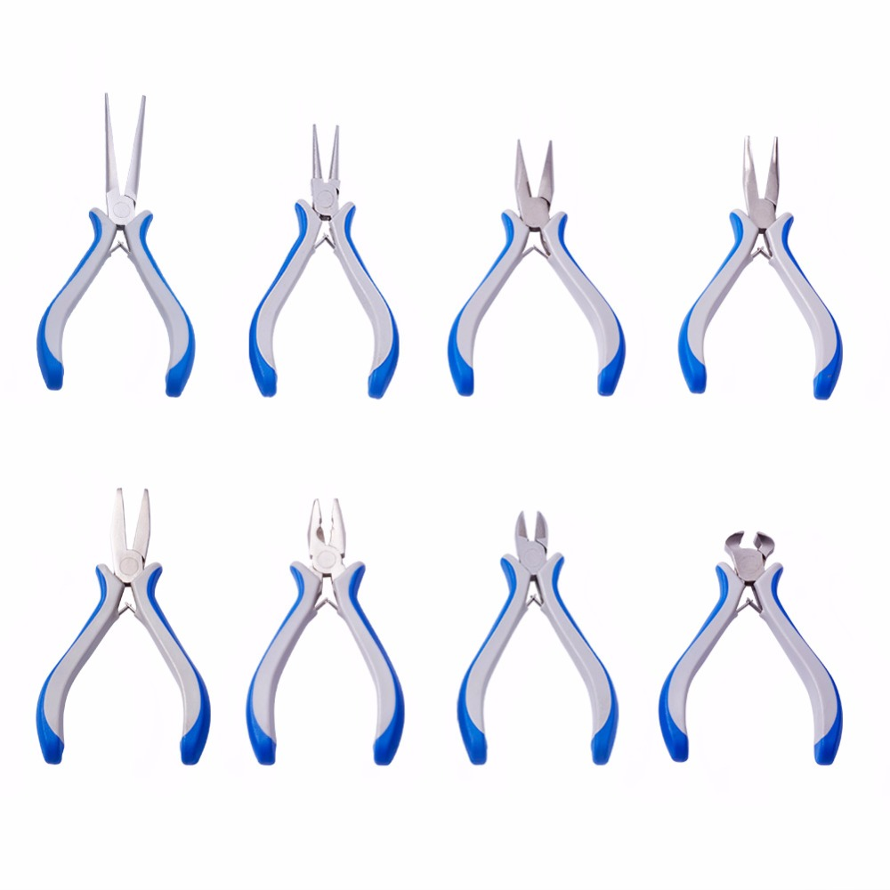 Jewelry Tools Equitment Pliers Flat Round Nose End Cutting Bent Nose Wire-Cutter Pliers Jewelry DIY Making Tool Carbon Steel F70