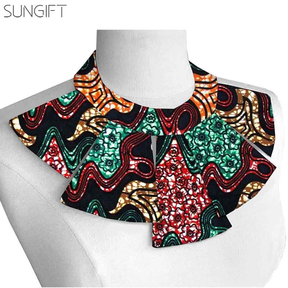 SUNGIFT Dashiki Phụ Nữ Châu Phi của Ankara Dây Vòng Cổ In Vải Cotton Bộ Lạc Yếm Cổ Áo Vòng Cổ Châu Phi Choker Bông Vòng Cổ