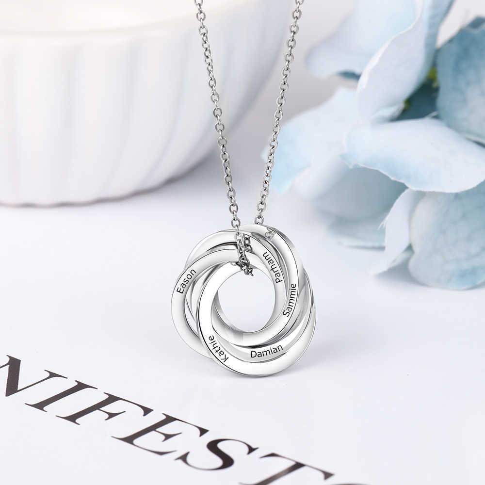 Kazınmış rus daire adı kolye özel 5 iç içe Circles kolye kolye yıldönümü hediyesi onun için anne büyükanne