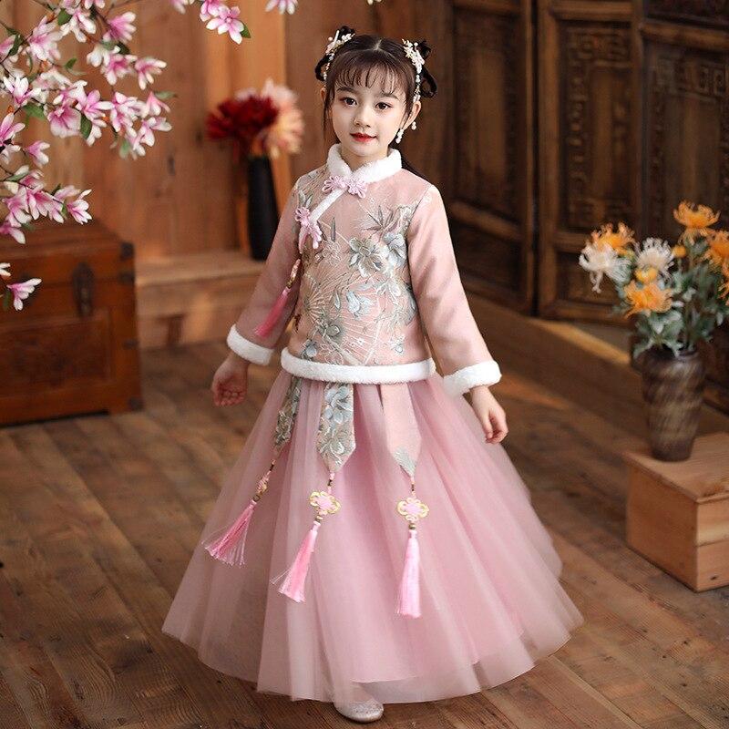 Autumn Winter New Embroider Girl's Hanfu Cheongsam Chinese Tradition Wedding Flower Girl Dress Cute Kids New Year Dress Clothes