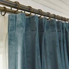 A luz nórdica cortinas de luxo para sala de estar quarto veludo luz-blindagem de veludo haze azul upscale cor sólida