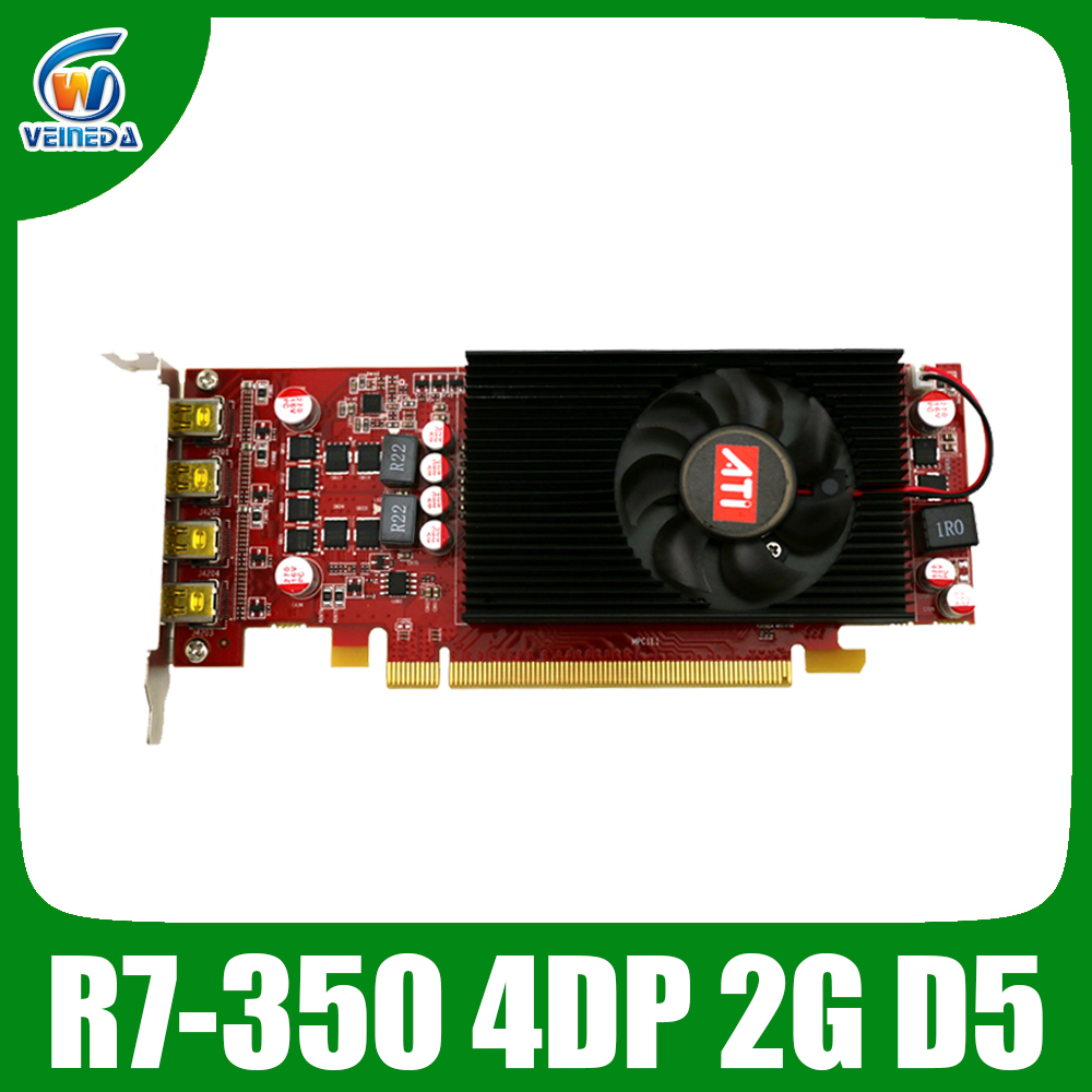 Multiscreen Display Card R7 350 2GB GDDR5 128Bit 4DP For Low Profile PC Support 4 Mode Display