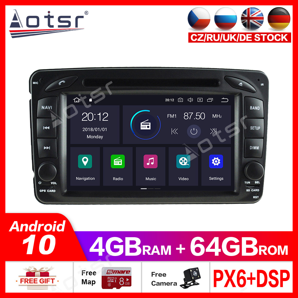 Android10.0 4G+64GB <font><b>Car</b></font> gps Multimedia Player For Mercedes Benz W209 W203 W168 <font><b>ML</b></font> <font><b>W163</b></font> W463 GPS Navigation multimedia player dsp image