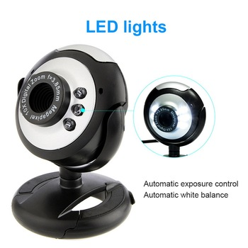 High Quality USB2.0 HD Camera With Microphone 30 Mega Pixel Web Cam 6 LED 480P Resolution Webcam Camera MIC For PC Laptop