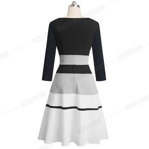Image 2 - Женское лоскутное платье Nice forever, элегантное контрастное деловое вечернее платье трапеция в стиле ретро, модель A173 на зиму, 2019