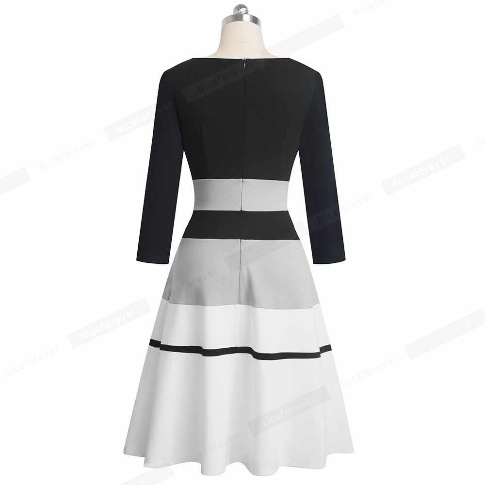 Хорошее-forever ретро элегантное контрастное цветное лоскутное vestidos деловые вечерние расклешенные трапециевидные женские зимние платья A173