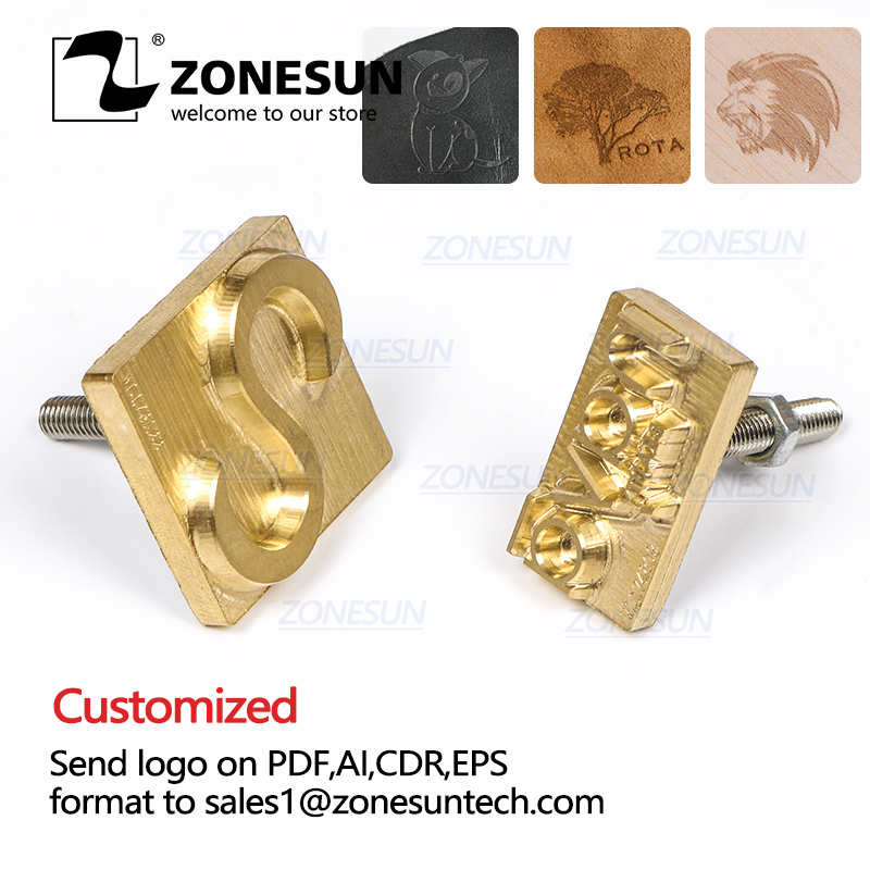 ZONESUN Custom Logo Leather Stamp Hot Brass Branding Iron Brand Heating On Wood Paper DIY Gift Personalized Stamping Mold