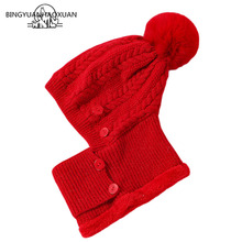 Brand New Sets  Knitted Skullies Beanies Hat Women Hats For Female Winter Warm Velvet Mask Wool Cycling Caps